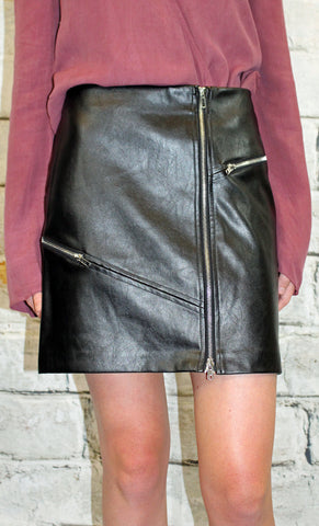 Black Zipper Front Faux Leather Skirt
