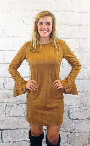 Camel Suede Long Sleeve Dress