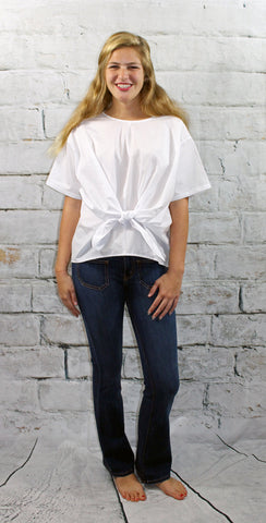 White Front Tie Blouse