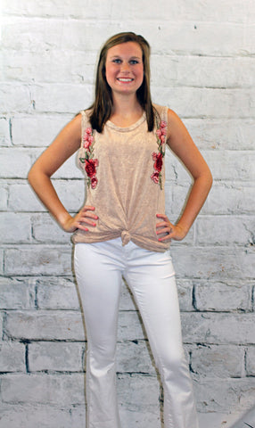 Washed Taupe Floral Embroidery Tank