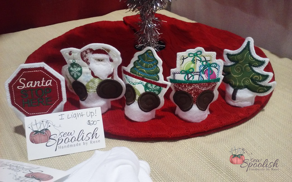 Embroidered Santa Holiday Train Tealight Cover Set