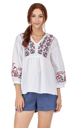 JOYJOY | Embroidered V Neck Top