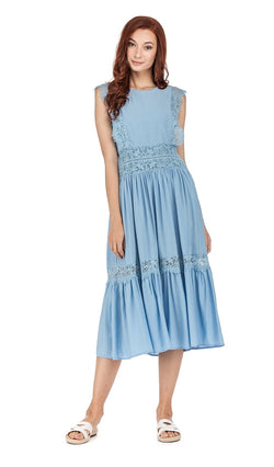JOYJOY | Lace Trim Midi Dress
