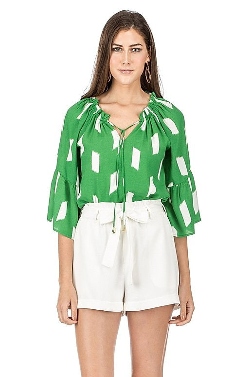 JADE Peasant Flutter Sleeve Top