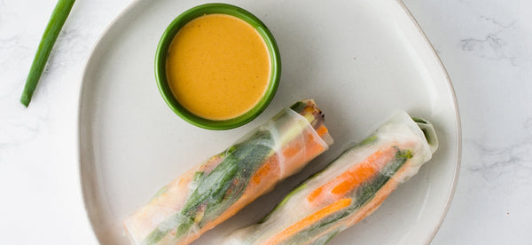 TEMPEH SPRING ROLLS WITH PEANUT DIPPING SAUCE