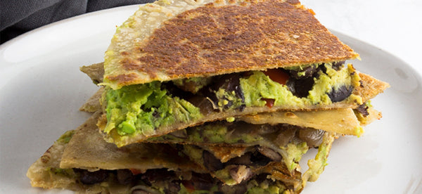 VEGETABLE, BLACK BEAN & AVOCADO QUESADILLAS