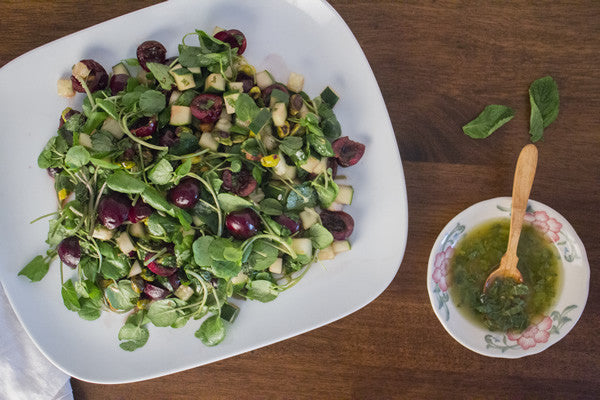 CHERRY & PISTACHIO SALAD WITH CITRUS MINT DRESSING