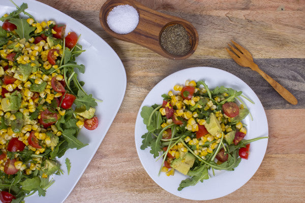 GRILLED CORN & AVOCADO SALAD WITH CUMIN LIME VINAIGRETTE