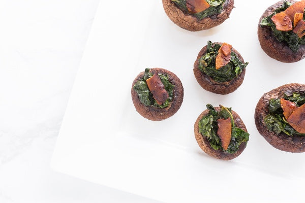 KALE STUFFED MUSHROOMS WITH COCONUT BACON