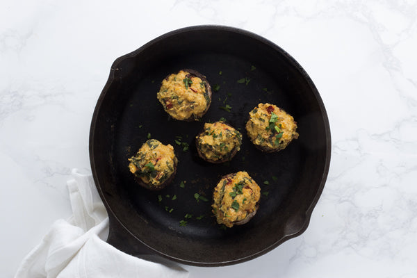 LENTIL & SWISS CHARD STUFFED MUSHROOMS