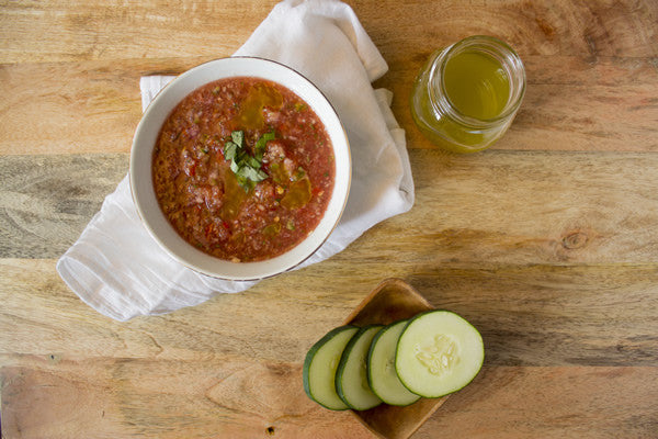 WATERMELON GAZPACHO WITH BASIL HERB OIL