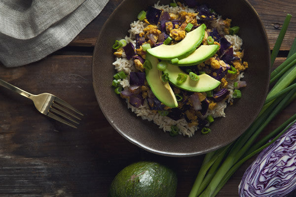 CHICKPEA SCRAMBLE AND RED CABBAGE BROWN RICE BOWLS