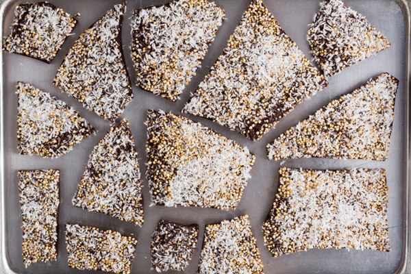 TOASTED QUINOA & COCONUT CHOCOLATE BARK