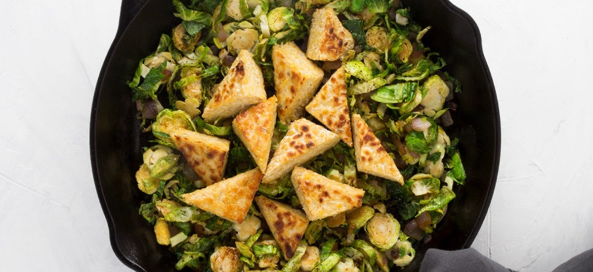 CRISPY TEMPEH & BRUSSEL SPROUT SKILLET
