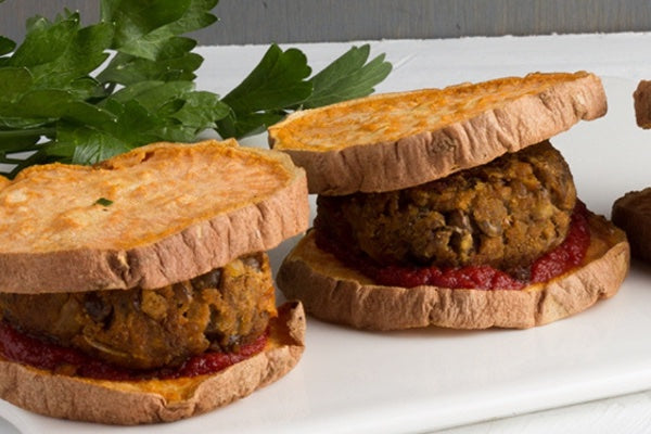 SMOKY LENTIL MEATBALL SLIDERS WITH SWEET POTATO BUNS
