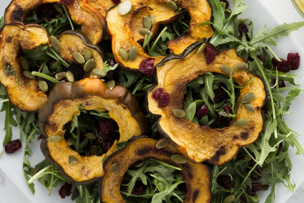 ROASTED ACORN SQUASH SALAD WITH MAPLE VINAIGRETTE