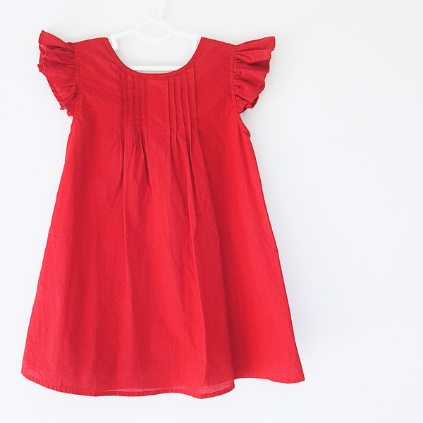 Tuck dress - red - size 5-6Y left