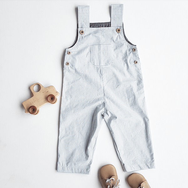Long dungaree - grey gingham - size 18-24M left