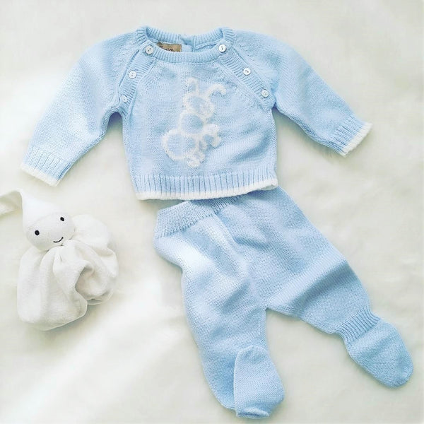 Knitted babygrow set - baby blue - size 6-12M left