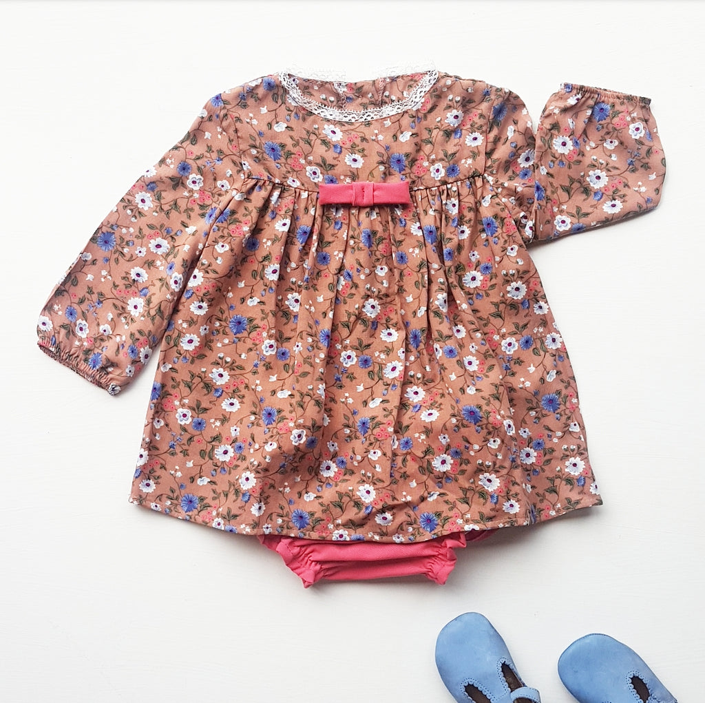 Baby dress + matching bloomers - minky floral