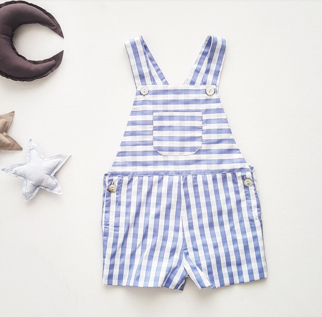 Short dungaree - blue gingham