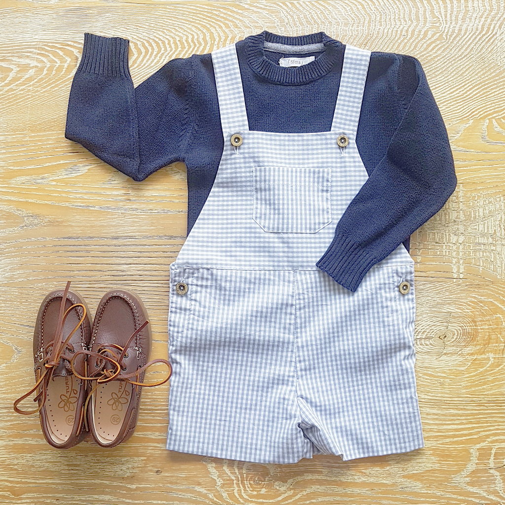 Short dungaree - grey gingham - size 2-3Y left