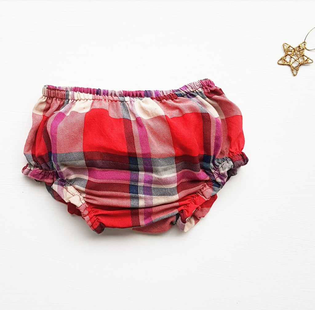 Frilled bloomers ¦ red tartan - size 3-6M left