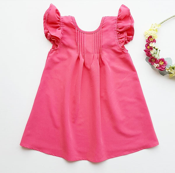 tuck dress - fuchsia