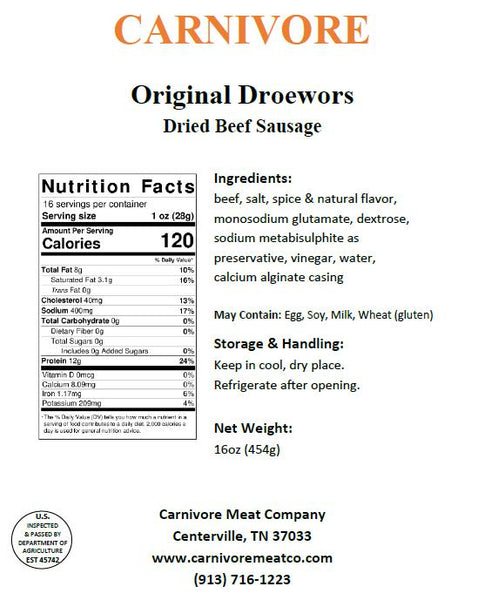 Original Droewors (contains MSG)