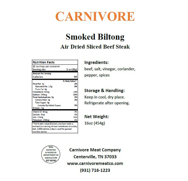 Smoked Sliced Biltong (Shaved Beef Steak)