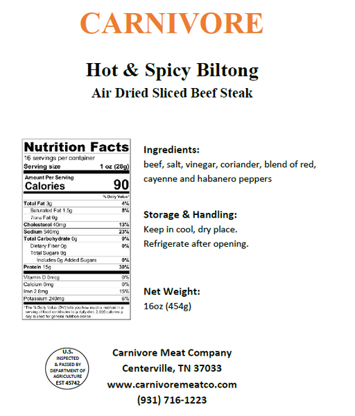 Hot Biltong (Shaved Beef Steak)