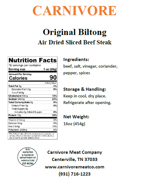 Traditional Sliced Beef Biltong (with fat)
