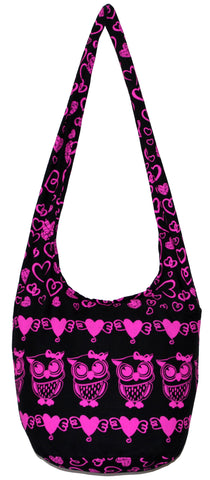 Owl Hobo Bohemian Shoulder Crossbody Bag Purse 35 Inch Pink Heart