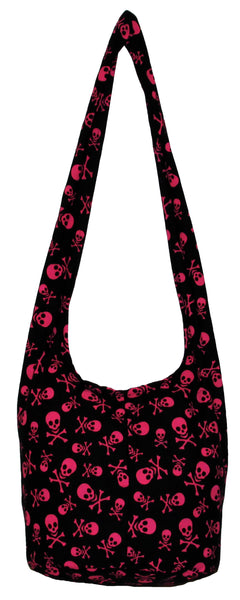 Skull Hobo Bohemian Pink Black Crossbody Bag Purse 35 Inch