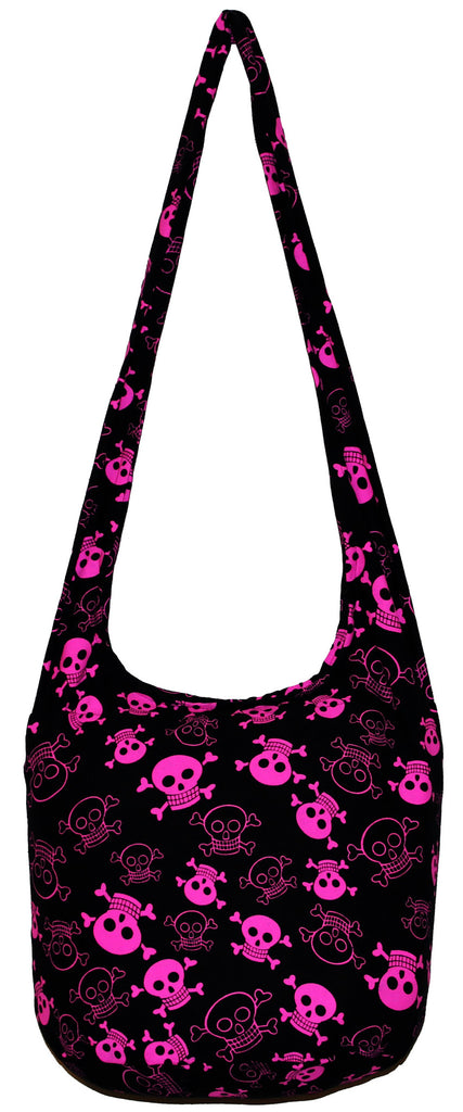 Pink Skull Hobo Bag Bohemian Boho Hippie Crossbody Purse 35 Inch