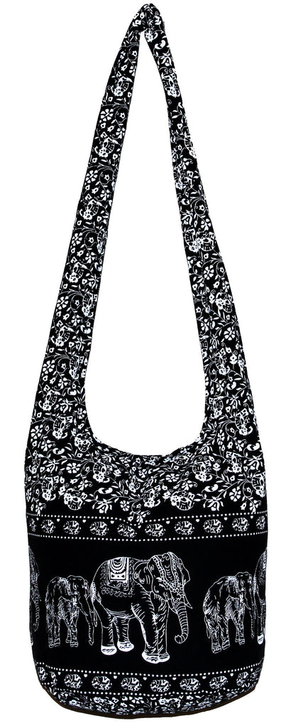 Black Classics Elephant Hobo Bohemian Shoulder Crossbody Bag Purse 35 Inch