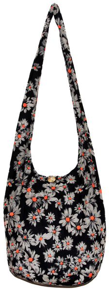 Black Yellow Daisy Bohemian Hippie Hipster Hobo Boho Crossbody Shoulder Bag