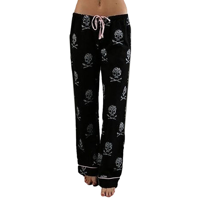 Women Pants Casual Low Waist Flare Wide Leg Long Trousers Skull Pajama