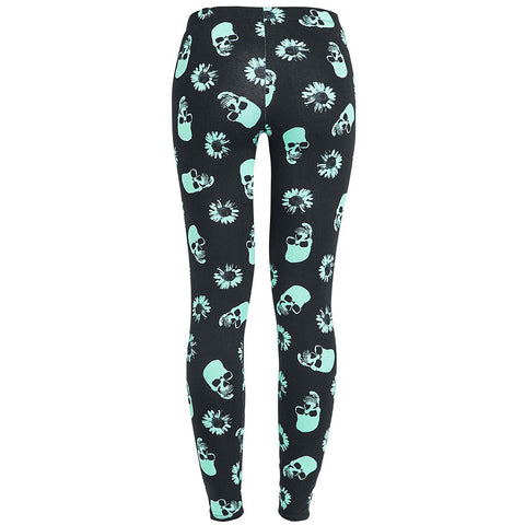 Women Skull Heads Leggings Skeleton & Flowers Printed Legging Fashion Sexy Skinny Pant