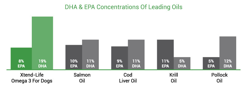 DHA and EPA concentrations of leading oils