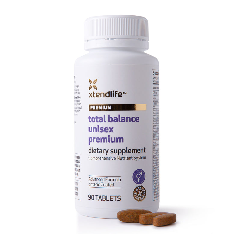 Buy our Total Balance Unisex Premium online now in the United States - An advanced multi-nutrient supplement containing 88 bio-active vitamins, minerals, nutrients, antioxidants and herbs to help support optimal health, immunity & wellbeing.