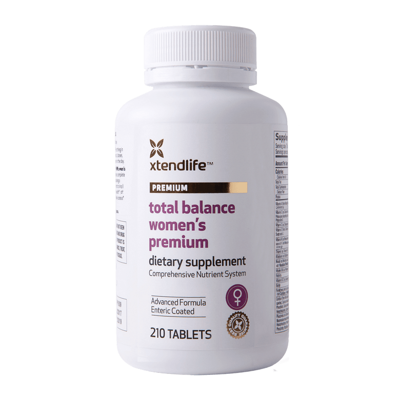 Buy our Total Balance Women's Premium online now in the United States - A comprehensive supplement containing natural bio-active vitamins, minerals, nutrients, antioxidants & herbs to promote optimal health for women.