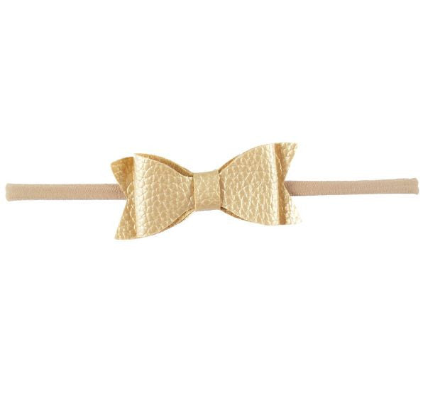 Gold Leather Knot Bow Headband