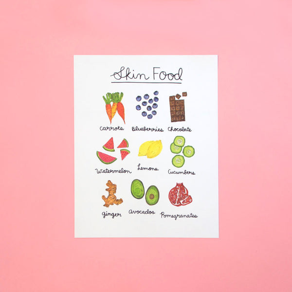hand drawn skin food art print