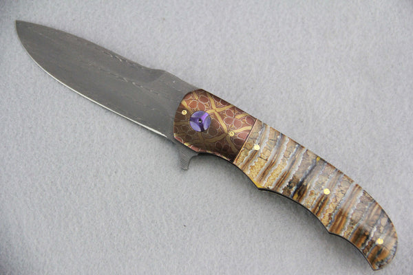 George Muller LL-BB Folder Mammoth Molar Damascus Bolster