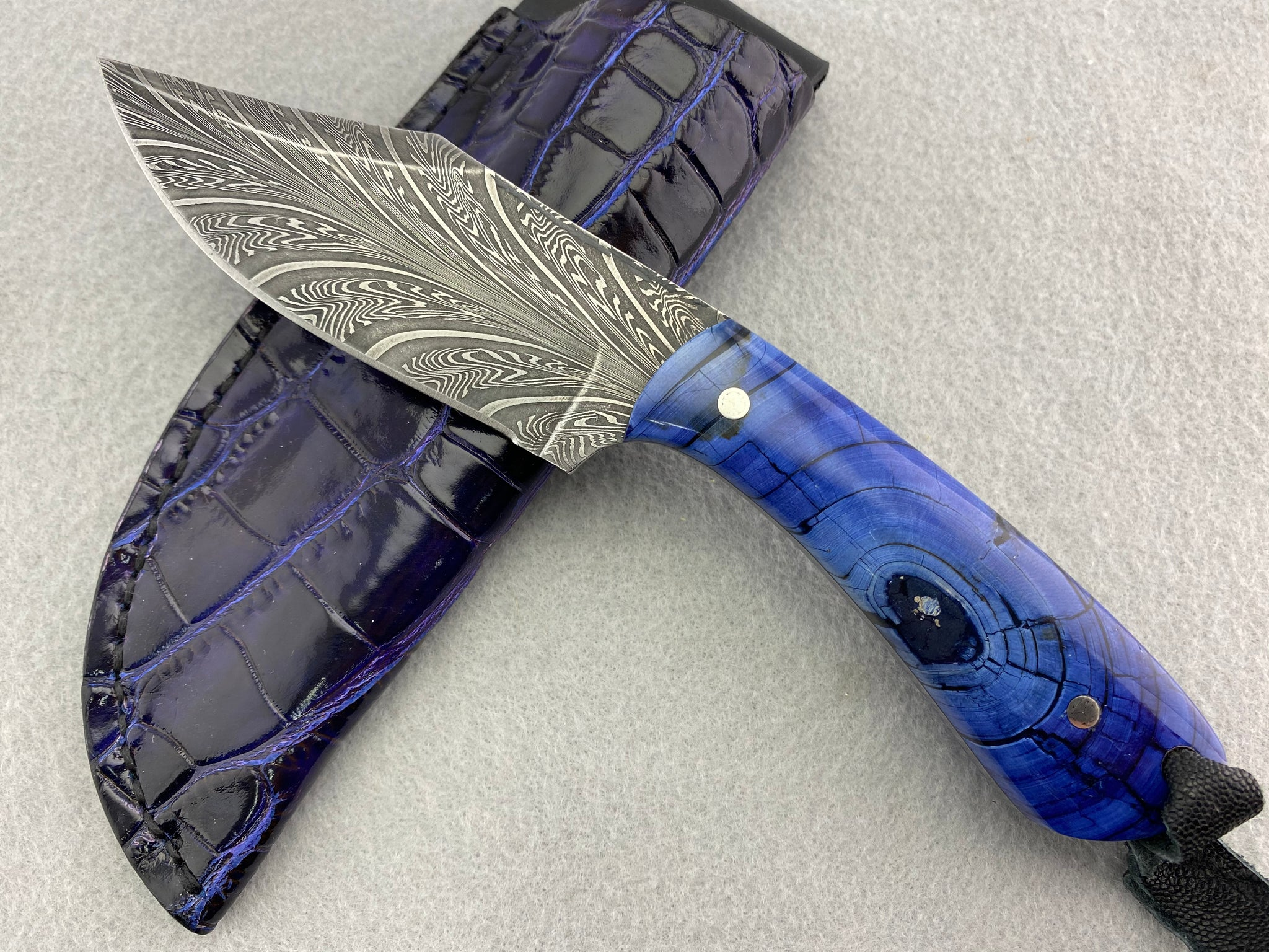 Sam Hawkins Feather Damascus Bowie with Mammoth Ivory Handle