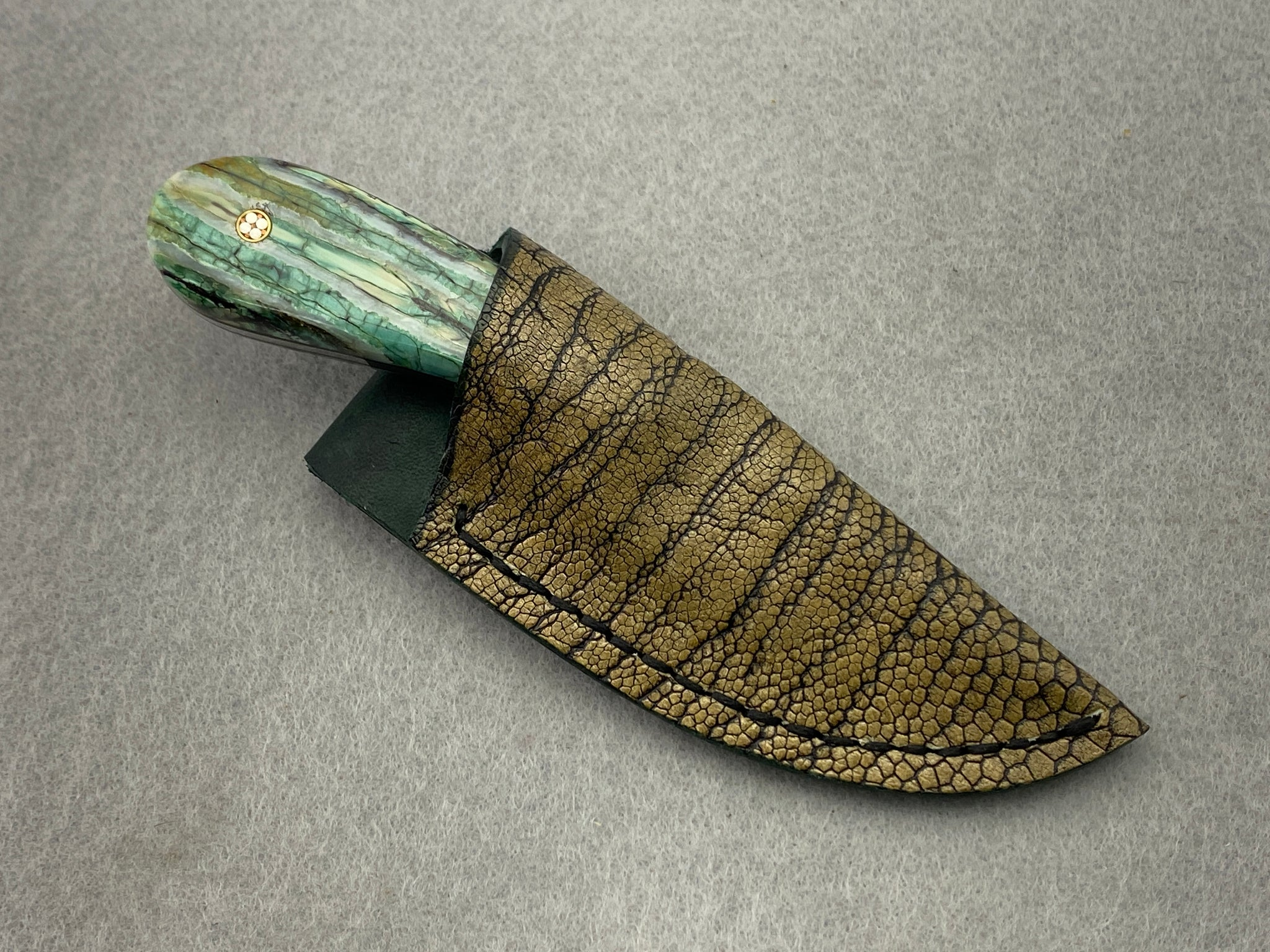 Sam Hawkins Drop Point False Edge Feather Damascus with Jade Mammoth Molar Handle