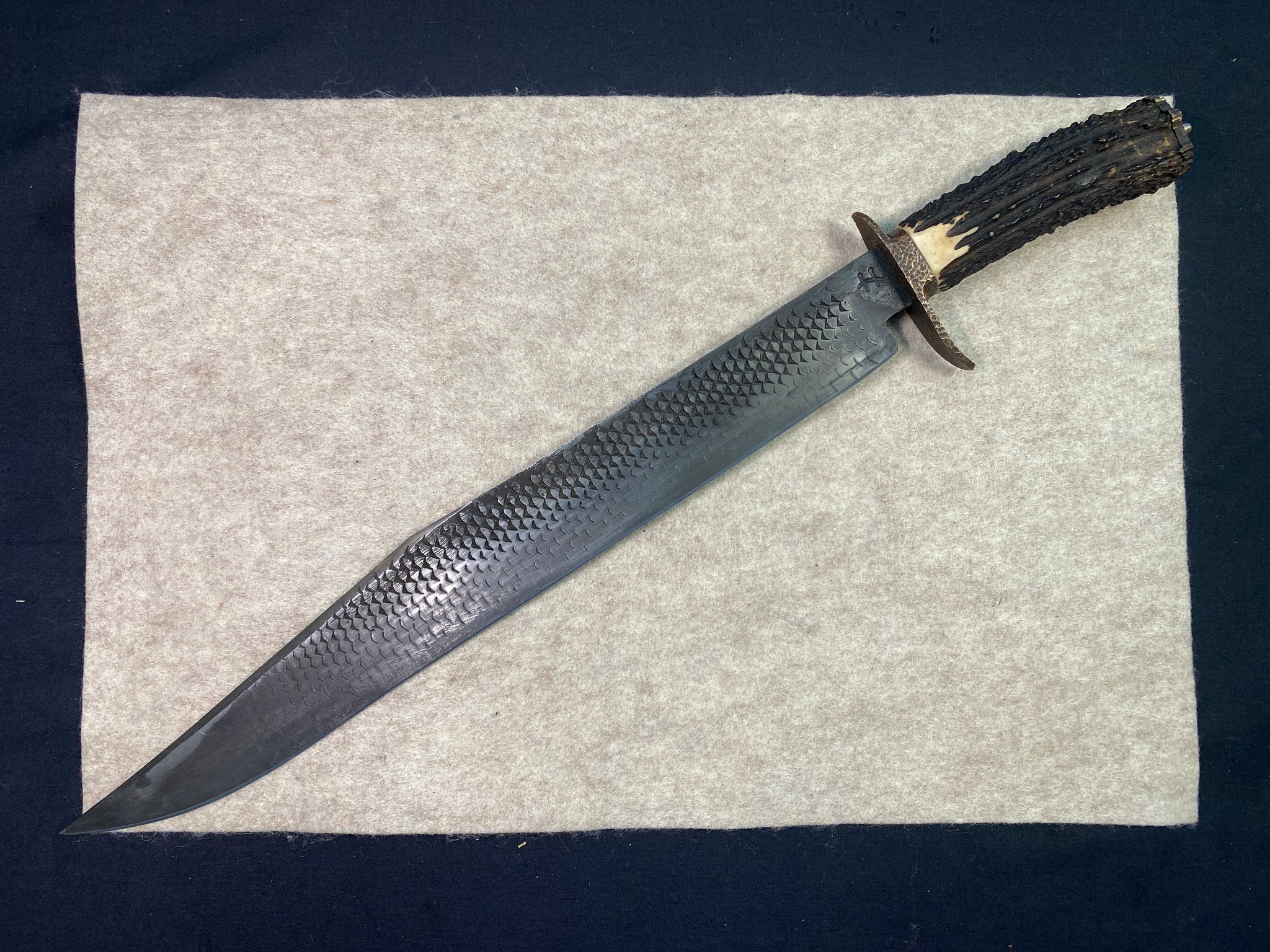 Hylton Rutherford Bowie w/ Stag Handle Custom Forged from File