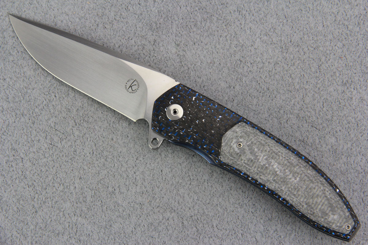 Keith Kruger K4 Flipper Blue LSCF w/ Silver Twill CF Inlay