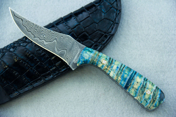 Sam Hawkins Hunter Geo Pattern Damascus UpSweep Ole' Timer Blade